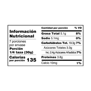 Arándanos mix granola y muesli tabla nutricional perú anku