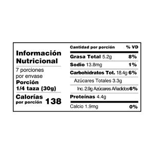 Mantequilla de Maní granola y muesli tabla nutricional perú anku