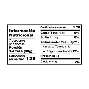 crunchy arándanos y frutos secos granola y muesli tabla nutricional perú anku